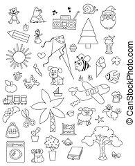 set of hand drawn kids