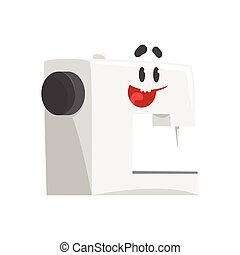 Funny sewing machine character with smiling face, humanized home electrical equipment vector Illustration