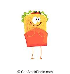 Funny shawarma cartoon fast food character, element for menu of cafe, restaurant, kids food, vector Illustration
