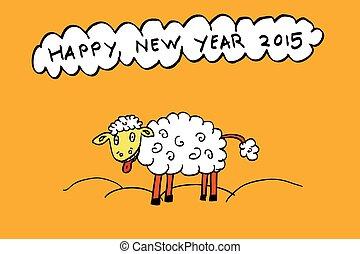 funny sheep enjoy new year 2015