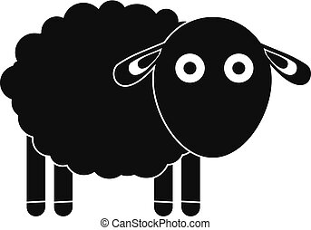 Funny sheep icon, simple style