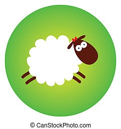 Funny sheep on a green background