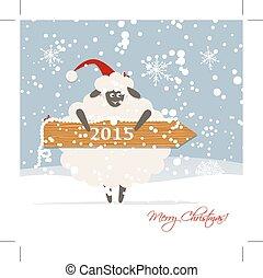 Funny sheep santa, symbol of new year 2015