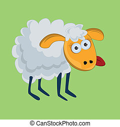 Funny sheep with his tongue hanging out. vector.