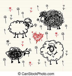 Funny sheeps on meadow, sketch for your design