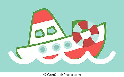 Funny ship in cartoon style. Vessel sailing in the waves in the blue sea flat illustration