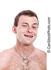 Funny shirtless man