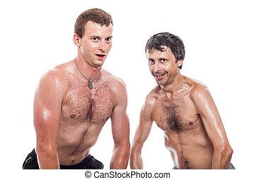 Funny shirtless men posing