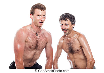 Funny shirtless men posing