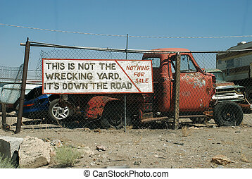 Funny sign and old truck - nevada