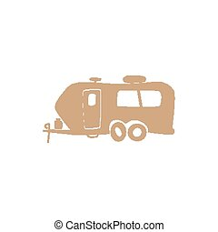 funny simple recreational vehicle Isolated on white background