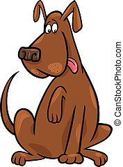funny sitting dog - Cartoon illustration of funny brown...