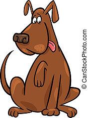 funny sitting dog - Cartoon illustration of funny brown...