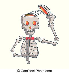 Funny skeleton with bowtie.