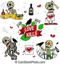Funny skeletons. Love Kills