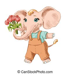Funny sketch of little elephant with flowers.