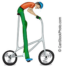 Funny sketch of too high bicyclist. Color version. Vector...