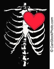funny skull and heart design