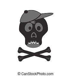 Funny skull with crossbones in a cap.