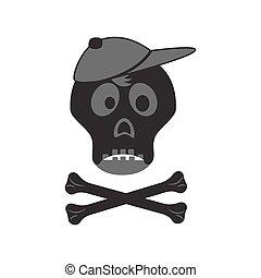 Funny skull with crossbones in a cap.