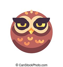 Funny sleepy brown owl face flat icon