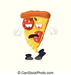 Funny slice of pizza cartoon fast food character vector Illustration on a white background