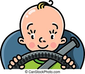 Funny small baby in the car with steering wheel