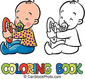 Funny small baby sitting with dummy. Coloring book