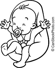 Funny small baby with dummy in the car seat