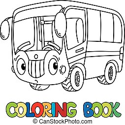 Funny Small Bus With Eyes Coloring Book
