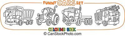 Funny small cars with eyes. Coloring book set