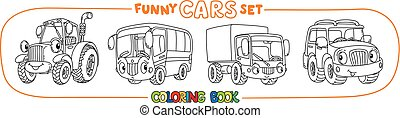 Funny small cars with eyes. Coloring book set - Tractor,...
