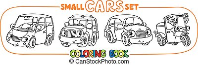 Funny small city cars with eyes. Coloring book set - Scooter...