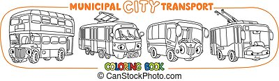 Funny small city transport with eyes coloring book - Bus, ...