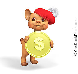 Funny small dog character holding money 3d rendering