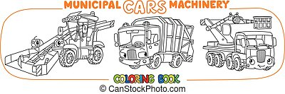Funny small municipal cars with eyes