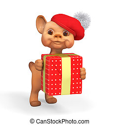 Funny small puppy character holding red gift 3d rendering
