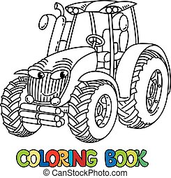 Tractor cartoon for coloring book. Black and white cartoon ...