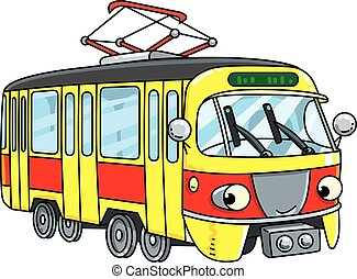 Funny small tram or tramway with eyes - Tram or tramway....