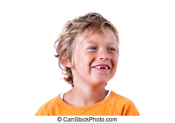 Funny smile - Cute blond boy with happy smile