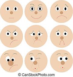 Funny smiles - Set of vector funny mug smileys