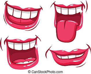 Funny smiles vector set - A set of funny smiling female and...