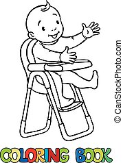 Funny smiling baby in the highchair