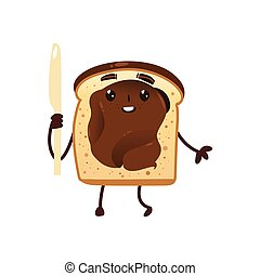 Funny smiling bread toast with chocolate spread