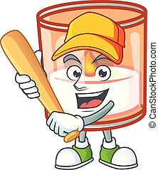Funny smiling candle in glass cartoon mascot playing baseball