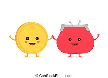 Funny smiling cute gold coin and red