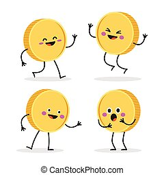 Funny smiling cute gold coin.