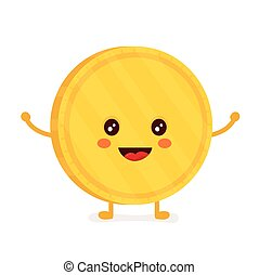 Funny smiling cute gold coin. Vector
