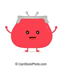 Funny smiling cute purse. Vector modern