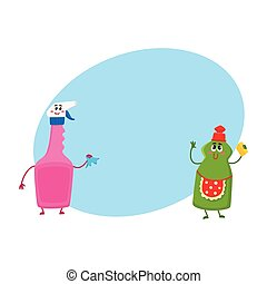 Funny smiling dish and window washing, liquid detergent characters